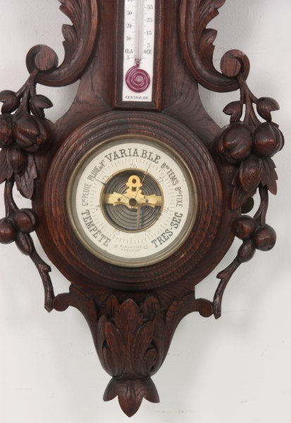 Black Forest Carved Wall Clock and Barometer - 3