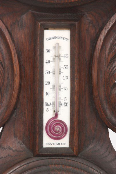 Black Forest Carved Wall Clock and Barometer - 4