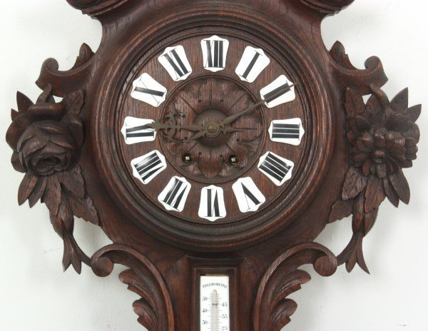 Black Forest Carved Wall Clock and Barometer - 5