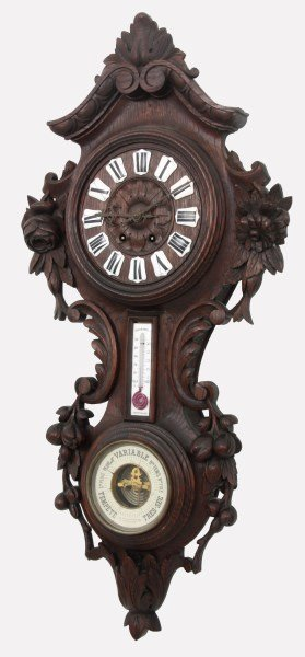 Black Forest Carved Wall Clock and Barometer - 7