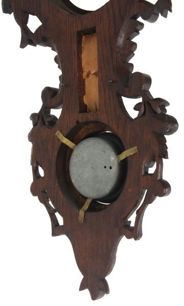 Black Forest Carved Wall Clock and Barometer - 9