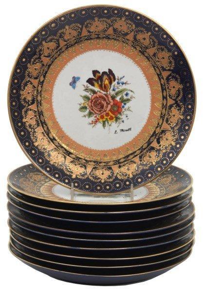 10 Attr: Louis-Philippe, Sevres Porcelain Plates