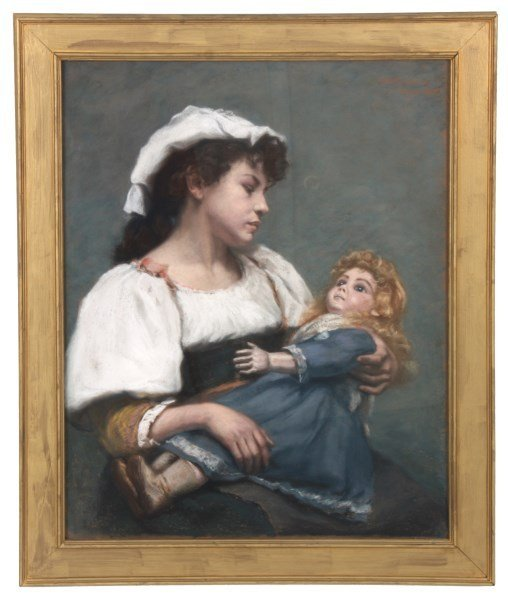 E.H. McLauthlin Pastel Portrait – Woman With Doll