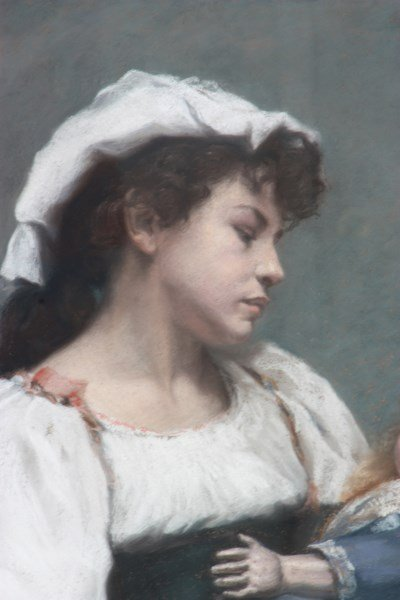 E.H. McLauthlin Pastel Portrait – Woman With Doll - 2