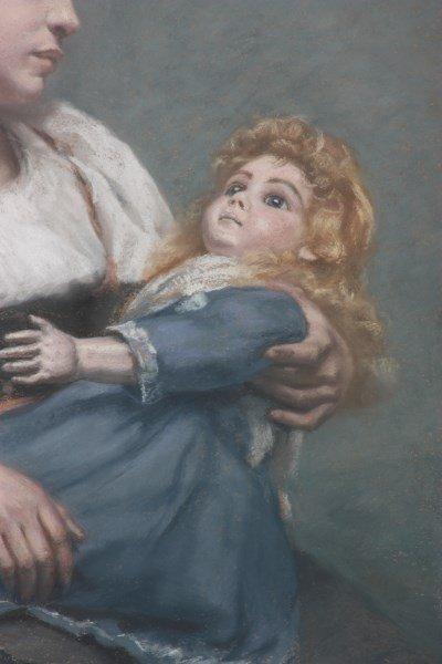 E.H. McLauthlin Pastel Portrait – Woman With Doll - 3