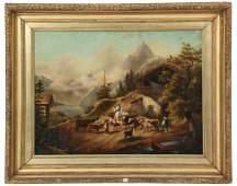 Signed A. Colletti O/B Chalet Painting