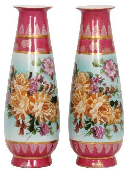 Pr. 20 in. Limoges Floral Vases
