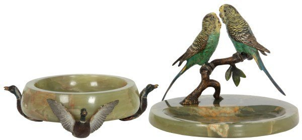 2 Austrian Cold Painted Bronze Ashtrays