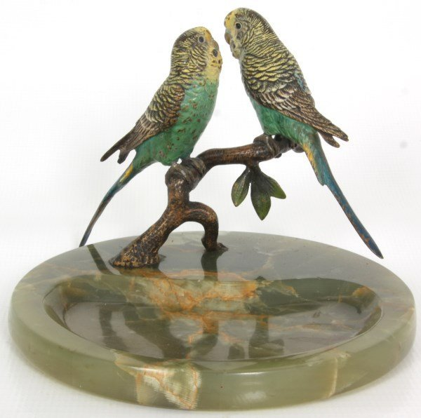 2 Austrian Cold Painted Bronze Ashtrays - 2