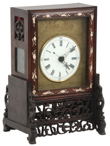 Chinese Double Fusee Teak Bracket Clock