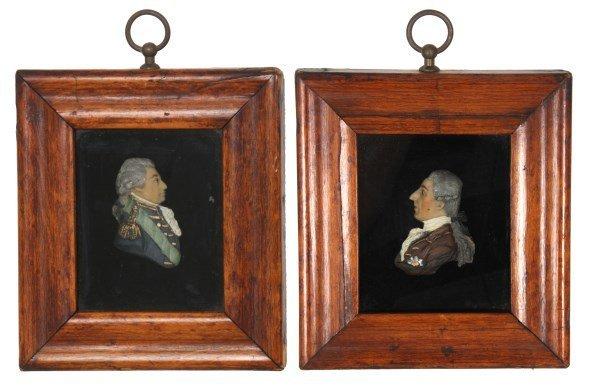 2 Framed Miniature Wax Profile Portraits