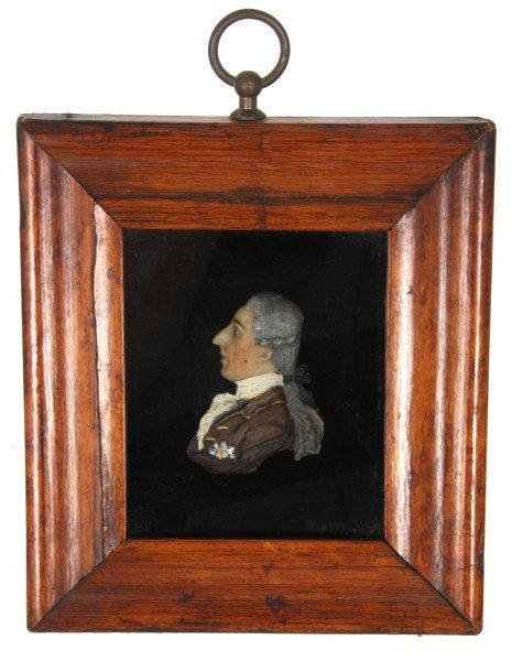 2 Framed Miniature Wax Profile Portraits - 2