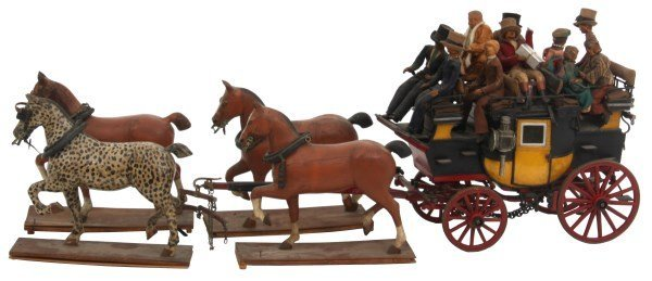 19th C. Hand Carved and Painted Toy Stage Coach
