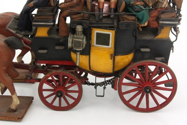 19th C. Hand Carved and Painted Toy Stage Coach - 3