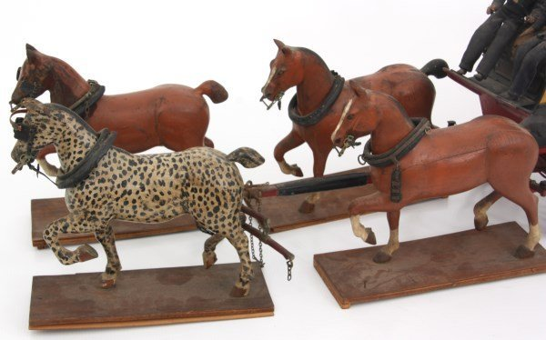19th C. Hand Carved and Painted Toy Stage Coach - 4
