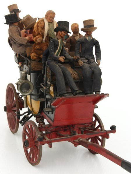 19th C. Hand Carved and Painted Toy Stage Coach - 6