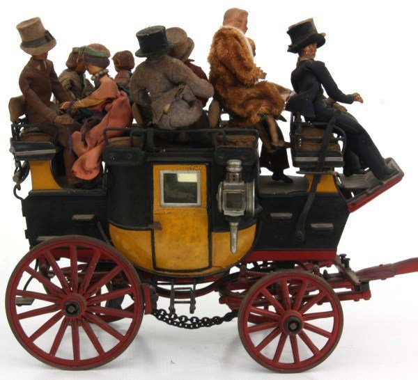 19th C. Hand Carved and Painted Toy Stage Coach - 7