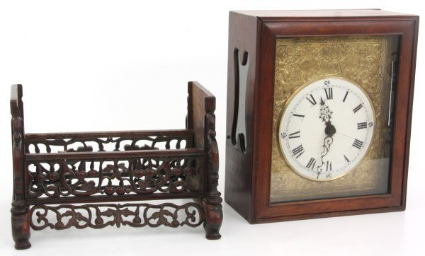 Lg. Chinese Double Fusee Teak Bracket Clock - 10