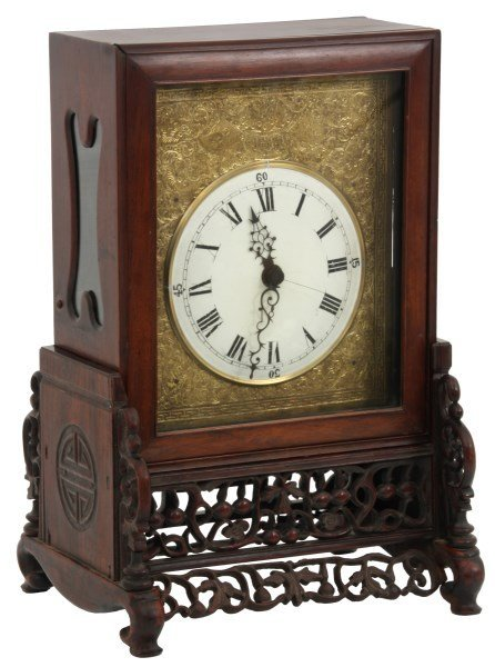 Lg. Chinese Double Fusee Teak Bracket Clock