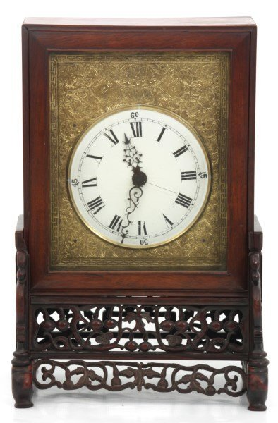 Lg. Chinese Double Fusee Teak Bracket Clock - 2