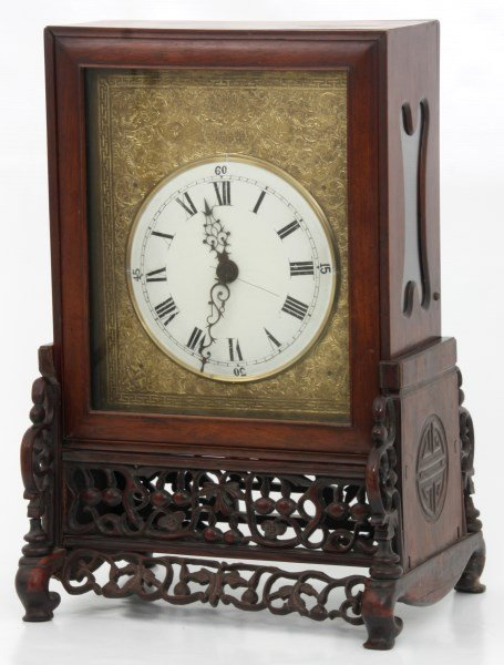 Lg. Chinese Double Fusee Teak Bracket Clock - 3