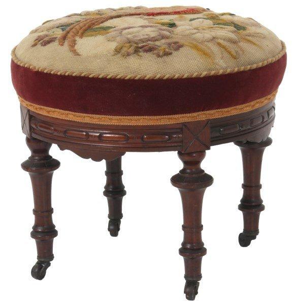 Victorian Walnut Tapestry Footstool