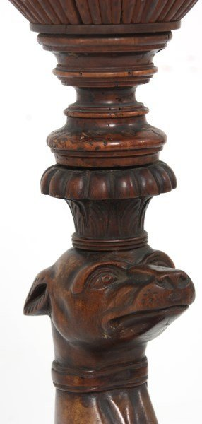 Figural Carved Walnut Whippet Plant Stand - 6