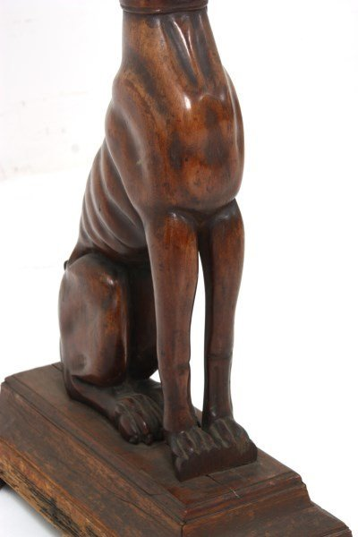 Figural Carved Walnut Whippet Plant Stand - 7
