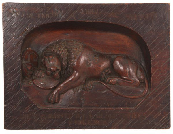 Carved Walnut Panel With Lion