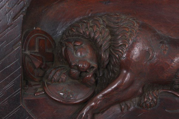 Carved Walnut Panel With Lion - 2