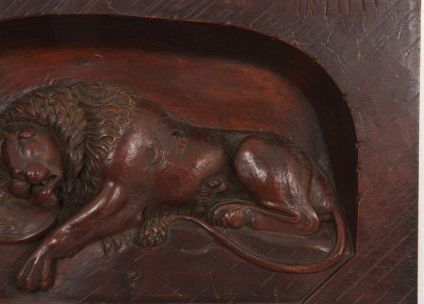 Carved Walnut Panel With Lion - 3