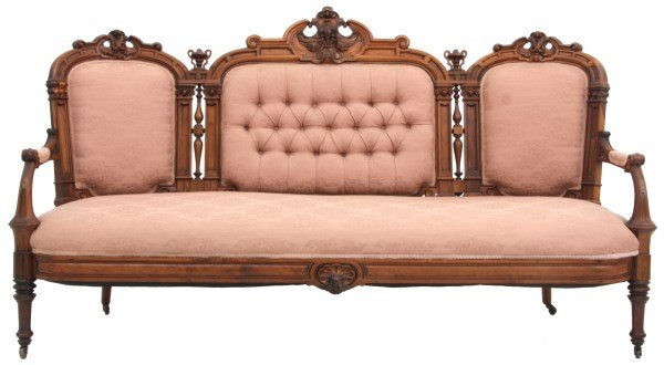 Victorian Carved Rosewood Triple Back Sofa