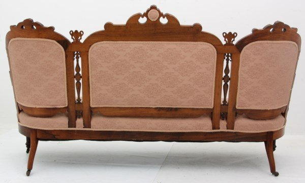 Victorian Carved Rosewood Triple Back Sofa - 7