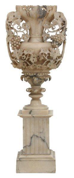 Carved Alabaster Urn on Pedestal