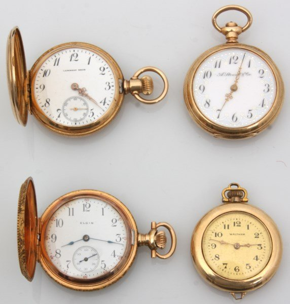 4 Small Size 14K Gold American Pocket Watches
