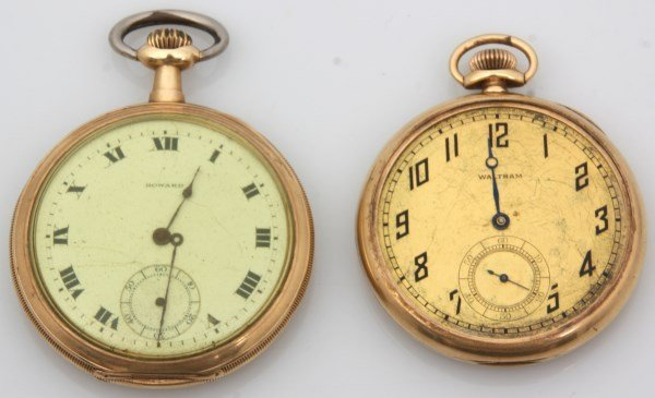 2 Open Face 14K Gold American Pocket Watches