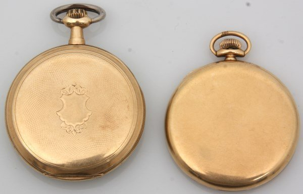 2 Open Face 14K Gold American Pocket Watches - 2