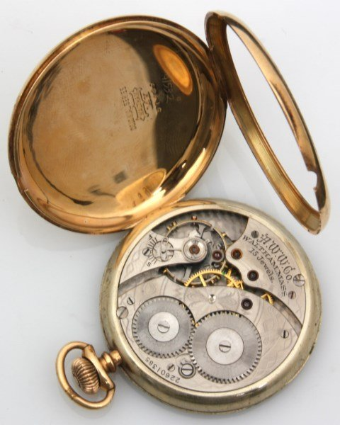 2 Open Face 14K Gold American Pocket Watches - 4