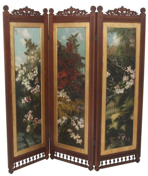 Walnut Eastlake 3 Panel Floor Screen