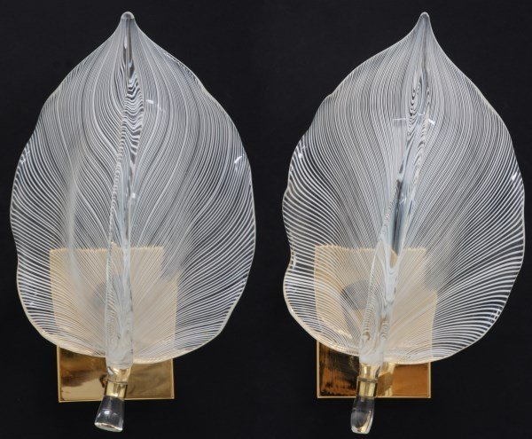 Pr. Franco Luce Murano Leaf Wall Sconces