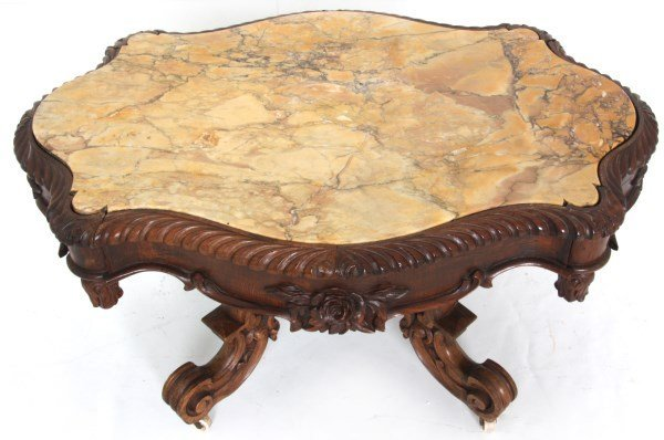 Turtle Top Marble Top Coffee Table - 2