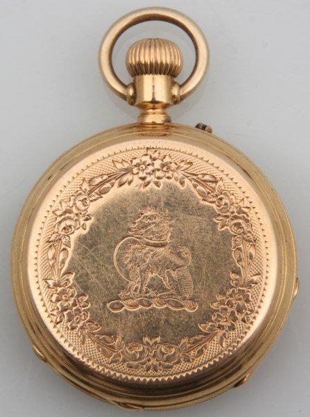 18K Breitling Laederich Open Face Pocket Watch - 2