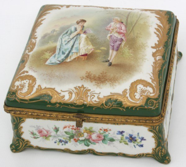 Sevres Decorated Porcelain Box - 4