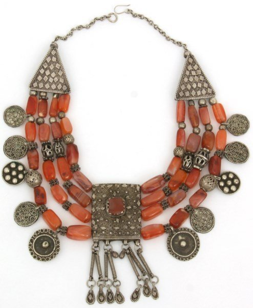 4 Strand Silver And Carnelian Beaded Necklace