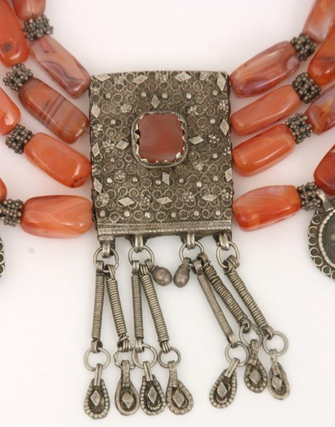 4 Strand Silver And Carnelian Beaded Necklace - 2