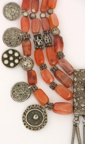 4 Strand Silver And Carnelian Beaded Necklace - 3