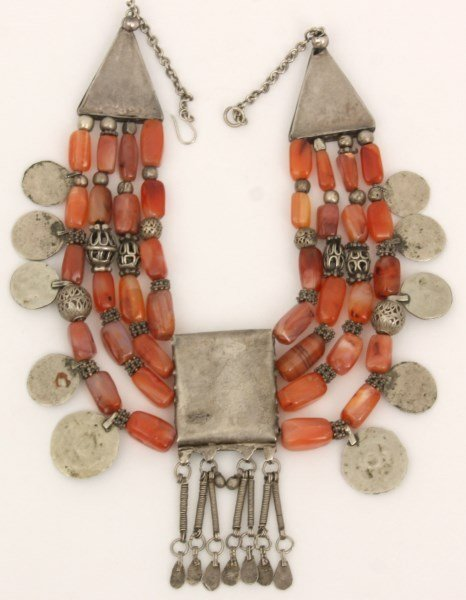 4 Strand Silver And Carnelian Beaded Necklace - 5