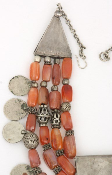 4 Strand Silver And Carnelian Beaded Necklace - 6