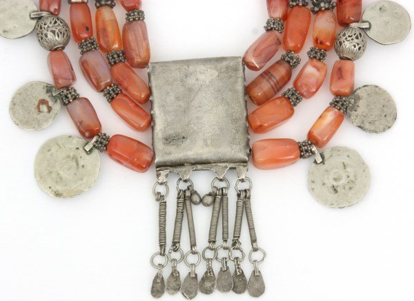 4 Strand Silver And Carnelian Beaded Necklace - 7