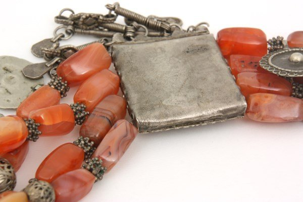 4 Strand Silver And Carnelian Beaded Necklace - 8